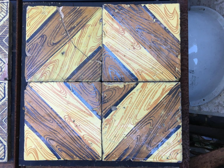 Italian Vintage reclaimed decorated tiles from early 20th century. 25 pieces available, approximately 1 sqm