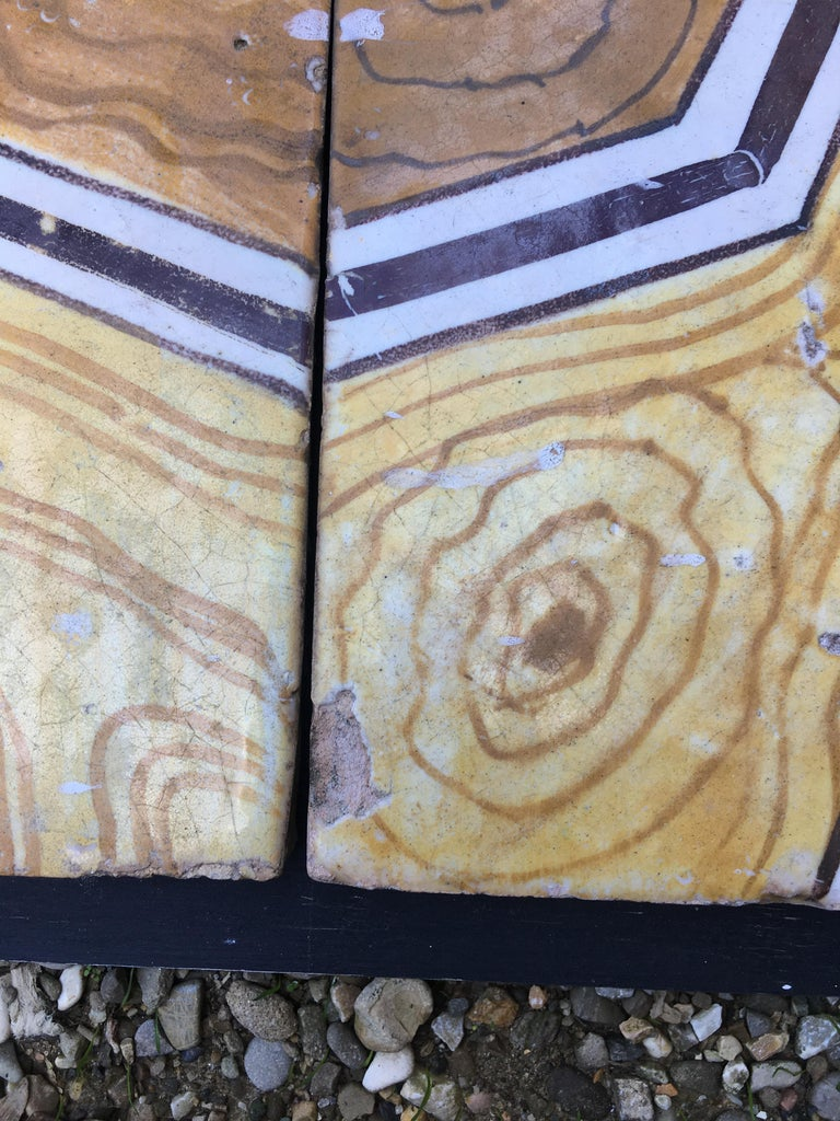 Ceramic Italian Vintage Reclaimed Decorated Tiles from Early 20th Century For Sale