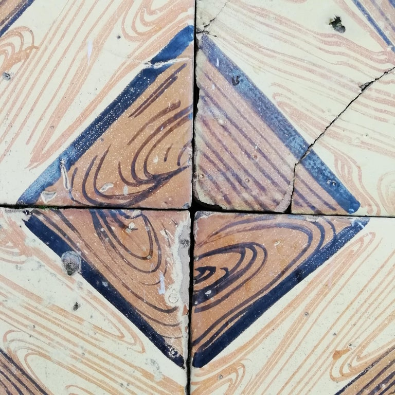 Italian Vintage Reclaimed Decorated Tiles from Early 20th Century For Sale 2