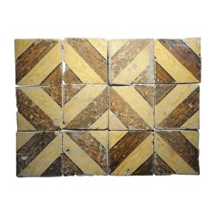 Italian Vintage Reclaimed Decorated Tiles from Early 20th Century