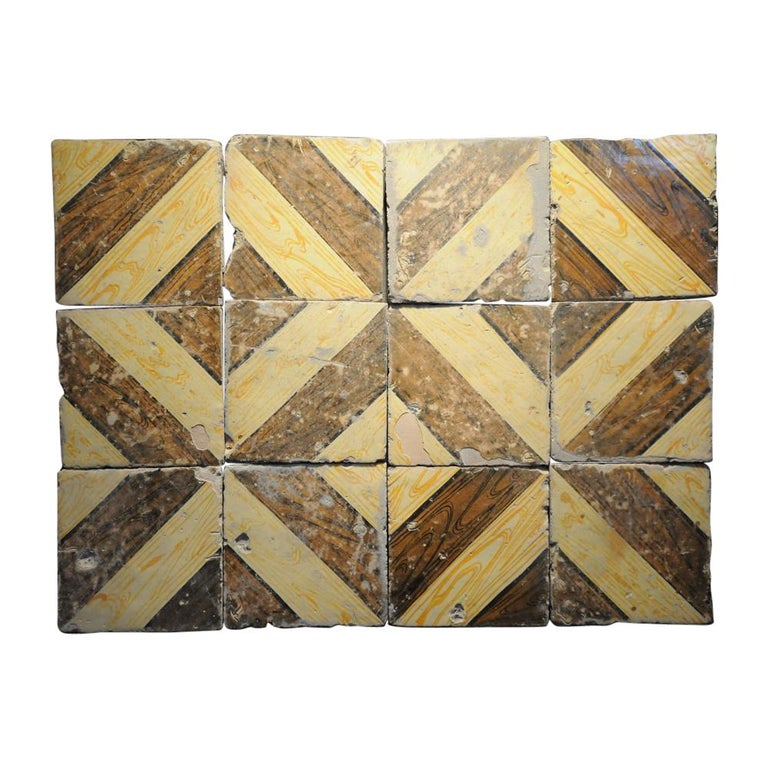 Italian Vintage Reclaimed Decorated Tiles from Early 20th Century For Sale