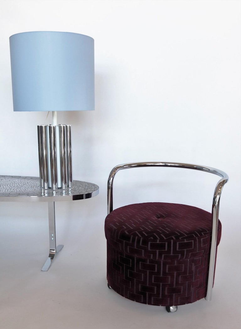 Late 20th Century Italian Vintage Rolling Chrome Ottoman or Pouf in Purple Velvet, 1970s For Sale