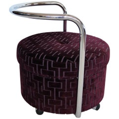 Italian Vintage Rolling Chrome Ottoman or Pouf in Purple Velvet, 1970s