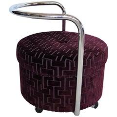 Italian Vintage Rolling Chrome Ottoman or Pouf in Purple Velvet, 1970s