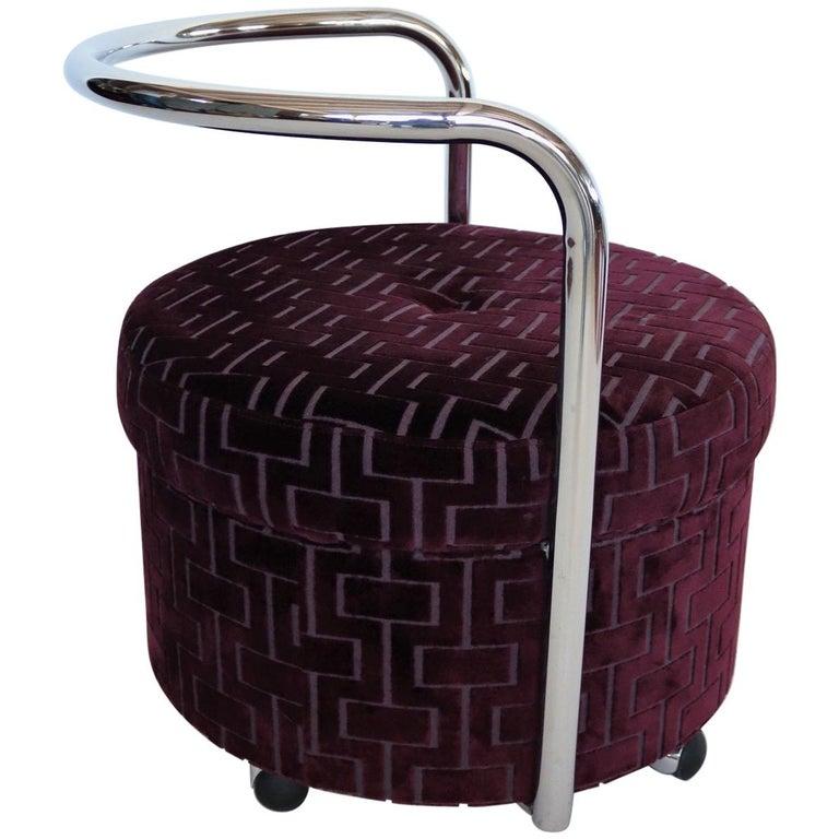 Italian Vintage Rolling Chrome Ottoman or Pouf in Purple Velvet, 1970s For Sale