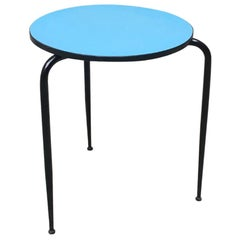 Italian Vintage Round Light-Blue Laminate Bar Table, 1950s