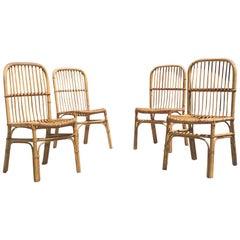 Italian Vintage Set of 4 Rattan Chair, 1960s