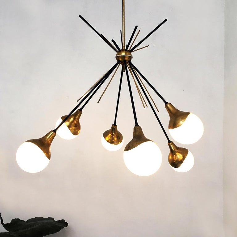 Mid-Century Modern Italian Vintage Six Lights Sputnik Chandelier by Stilnovo, 1950s