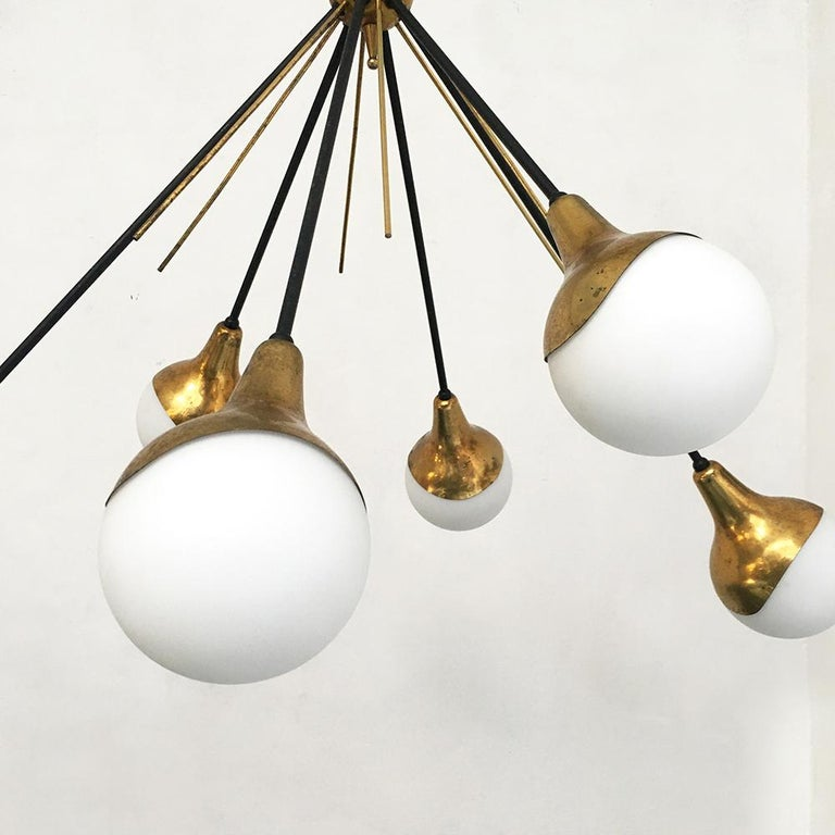 Italian Vintage Six Lights Sputnik Chandelier by Stilnovo, 1950s In Good Condition In MIlano, IT