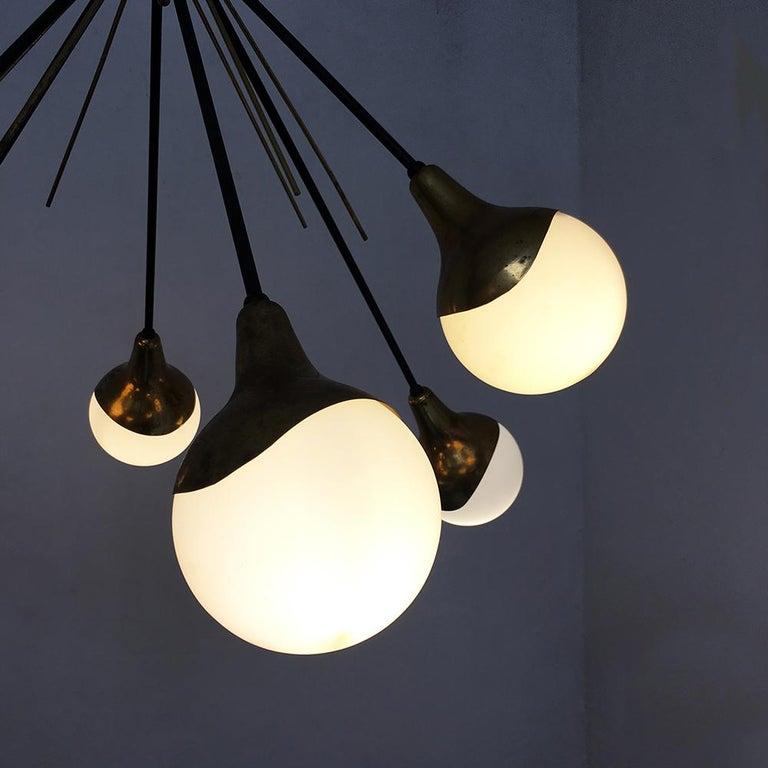 Italian Vintage Six Lights Sputnik Chandelier by Stilnovo, 1950s 1