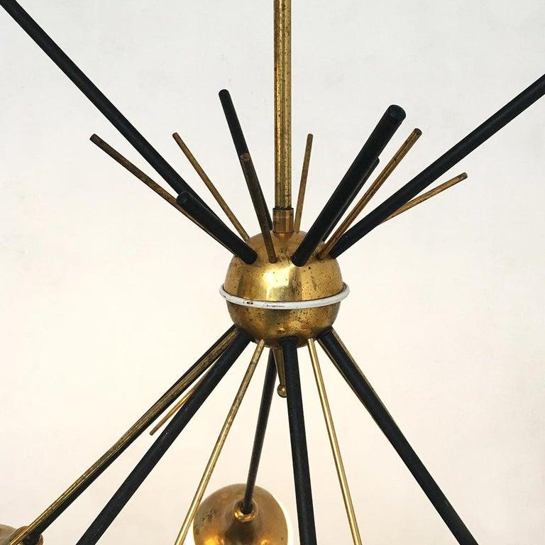 Italian Vintage Six Lights Sputnik Chandelier by Stilnovo, 1950s 3
