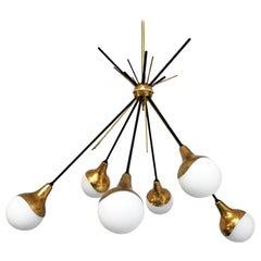 Italian Vintage Six Lights Sputnik Chandelier by Stilnovo, 1950s