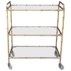 Italian Vintage Small Gilded Iron Bar Cart