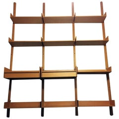 Italian Vintage Solid Beech Wall Bookcase, 1990s