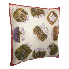 Italian Vintage Souvenir Silk Scarf Throw Pillow, 1970s