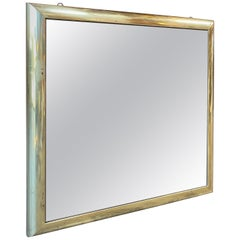 Italian Vintage Square Wall Mirror in Brass, 1960s