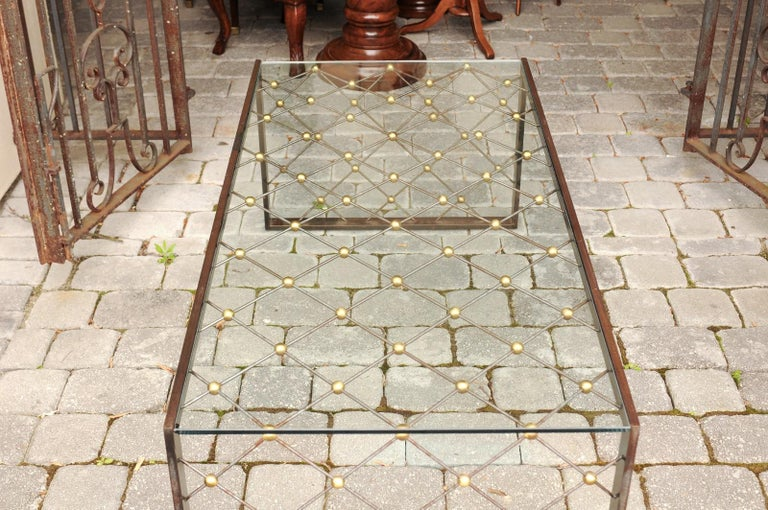 French Steel and Brass Cocktail Table with Glass Top and Diamond Motifs For Sale 5