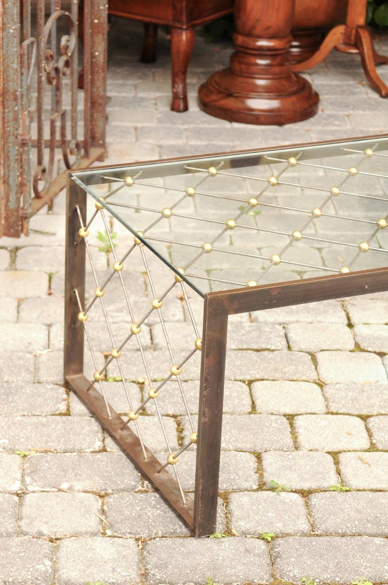 French Steel and Brass Cocktail Table with Glass Top and Diamond Motifs In Good Condition For Sale In Atlanta, GA