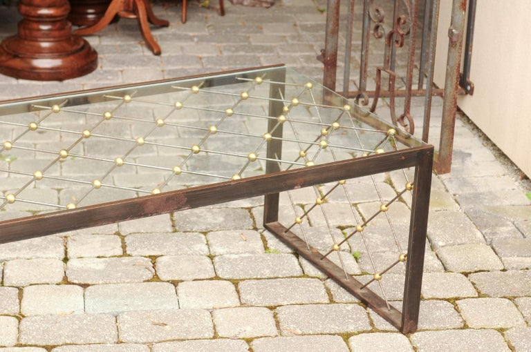 20th Century French Steel and Brass Cocktail Table with Glass Top and Diamond Motifs For Sale