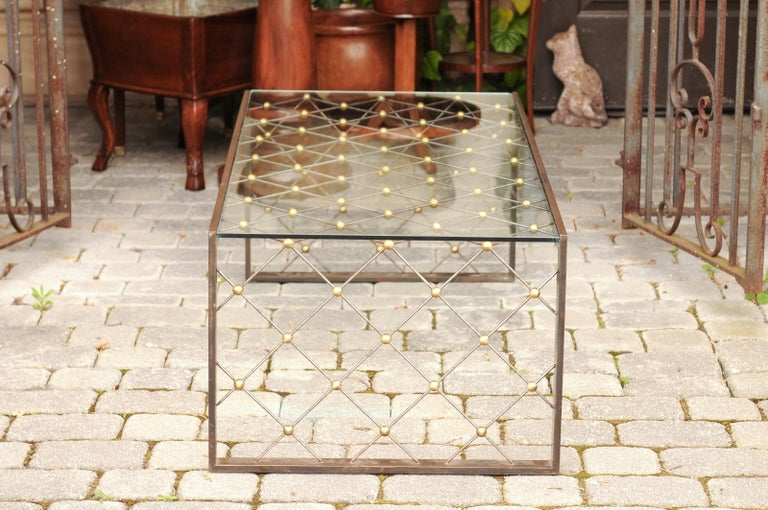 French Steel and Brass Cocktail Table with Glass Top and Diamond Motifs For Sale 1