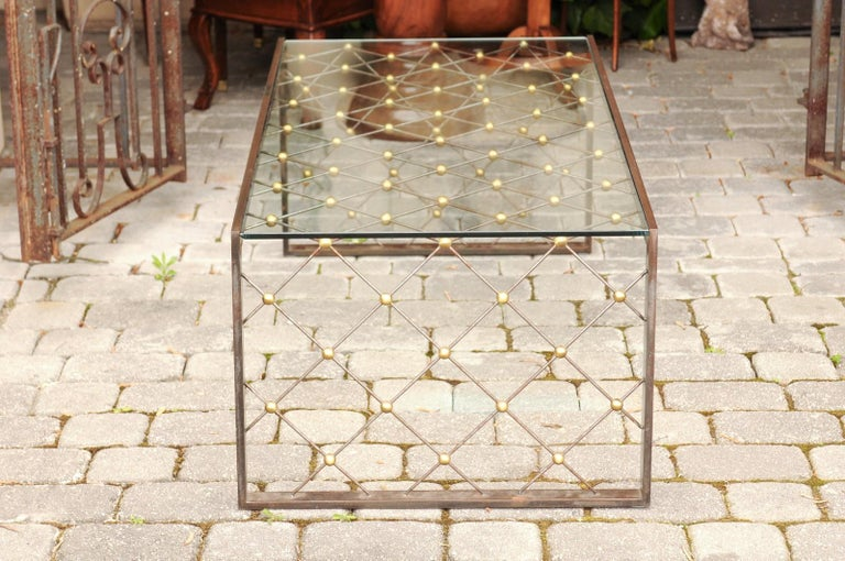 French Steel and Brass Cocktail Table with Glass Top and Diamond Motifs For Sale 3