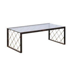 French Steel and Brass Cocktail Table with Glass Top and Diamond Motifs