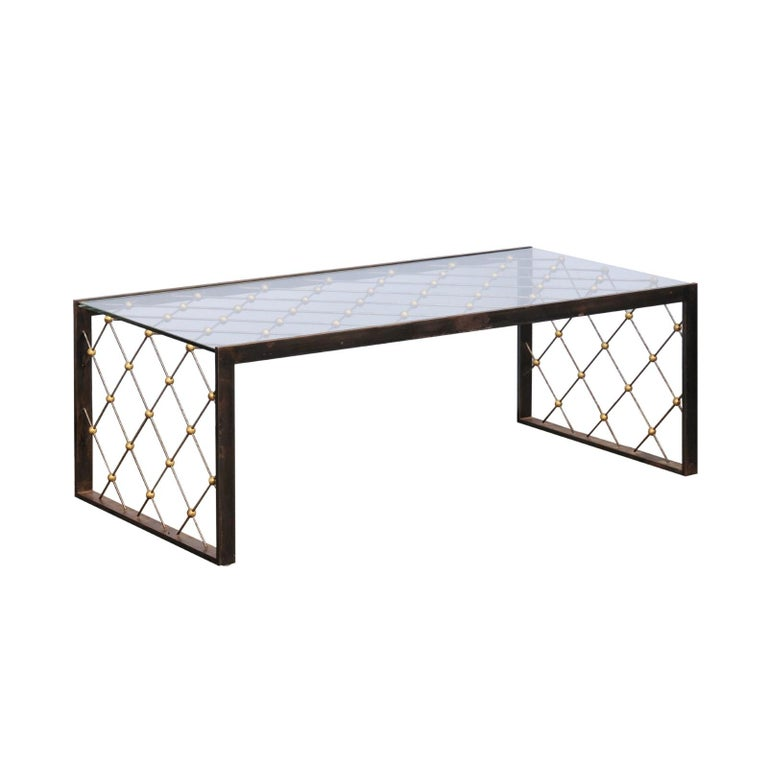 French Steel and Brass Cocktail Table with Glass Top and Diamond Motifs For Sale