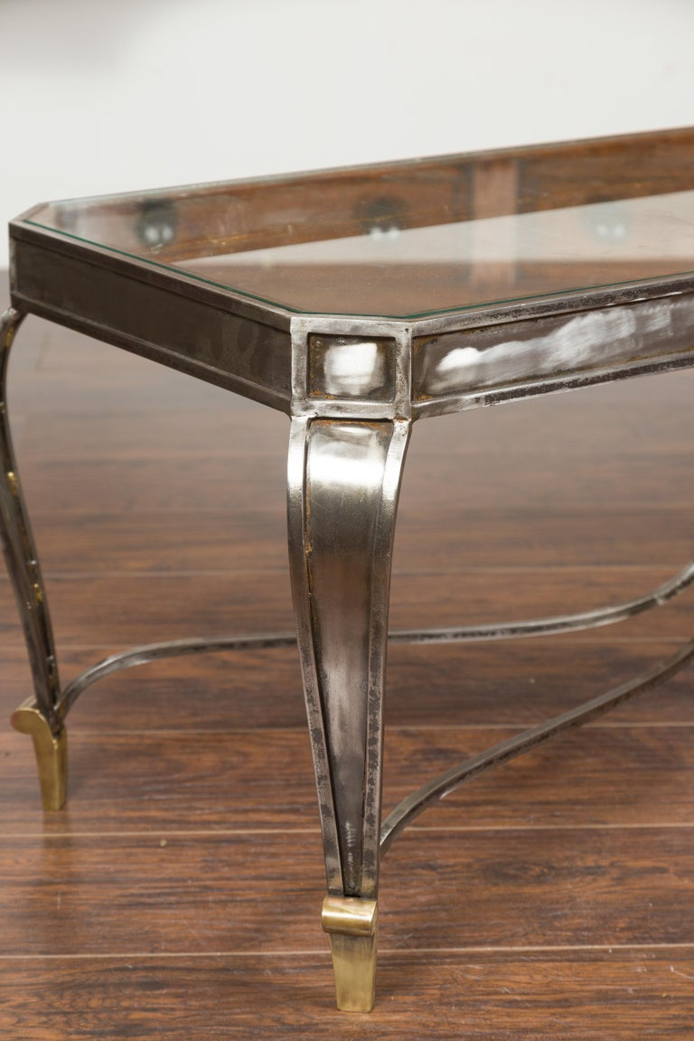 Italian Vintage Steel and Bronze Coffee Table with Glass Top and Feathery Finial For Sale 5
