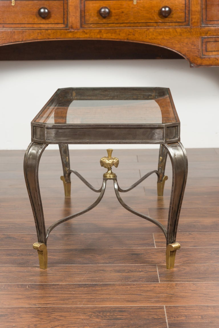 Italian Vintage Steel and Bronze Coffee Table with Glass Top and Feathery Finial For Sale 6