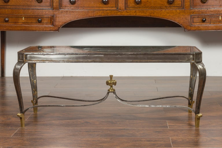 Italian Vintage Steel and Bronze Coffee Table with Glass Top and Feathery Finial For Sale 7