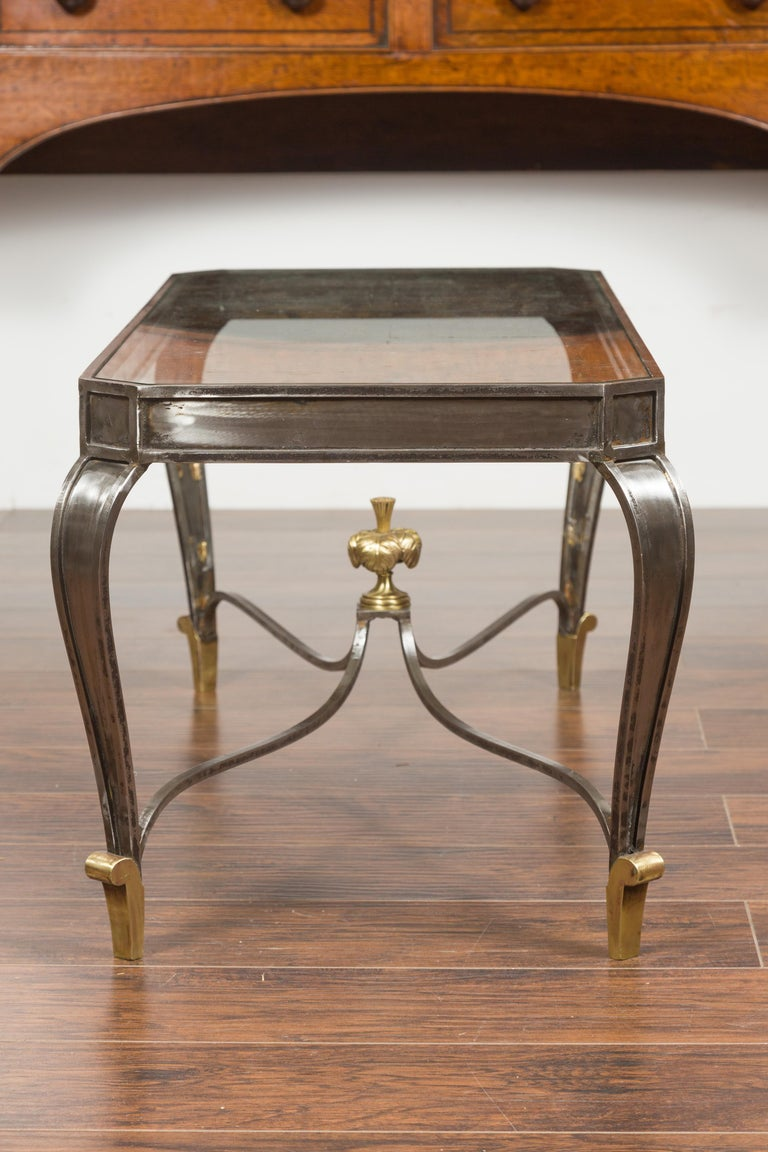 Italian Vintage Steel and Bronze Coffee Table with Glass Top and Feathery Finial For Sale 8