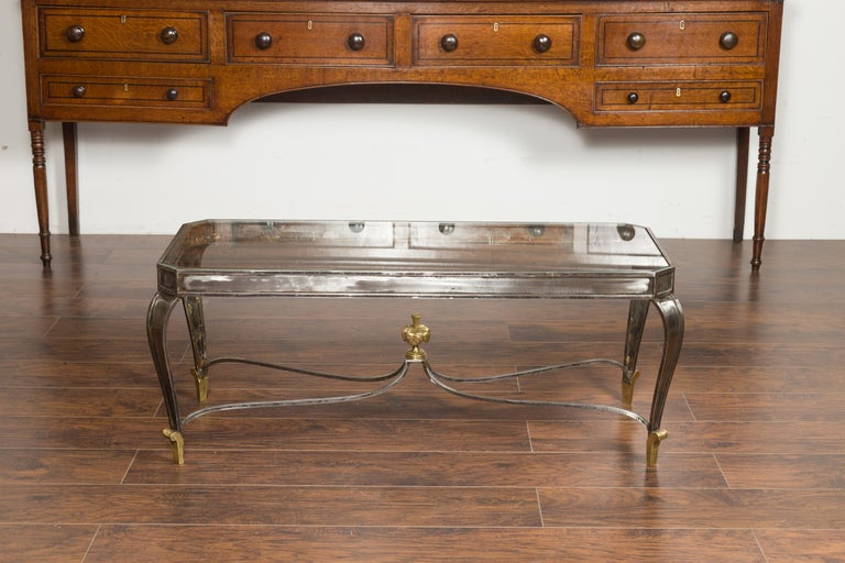 Mid-Century Modern Italian Vintage Steel and Bronze Coffee Table with Glass Top and Feathery Finial For Sale
