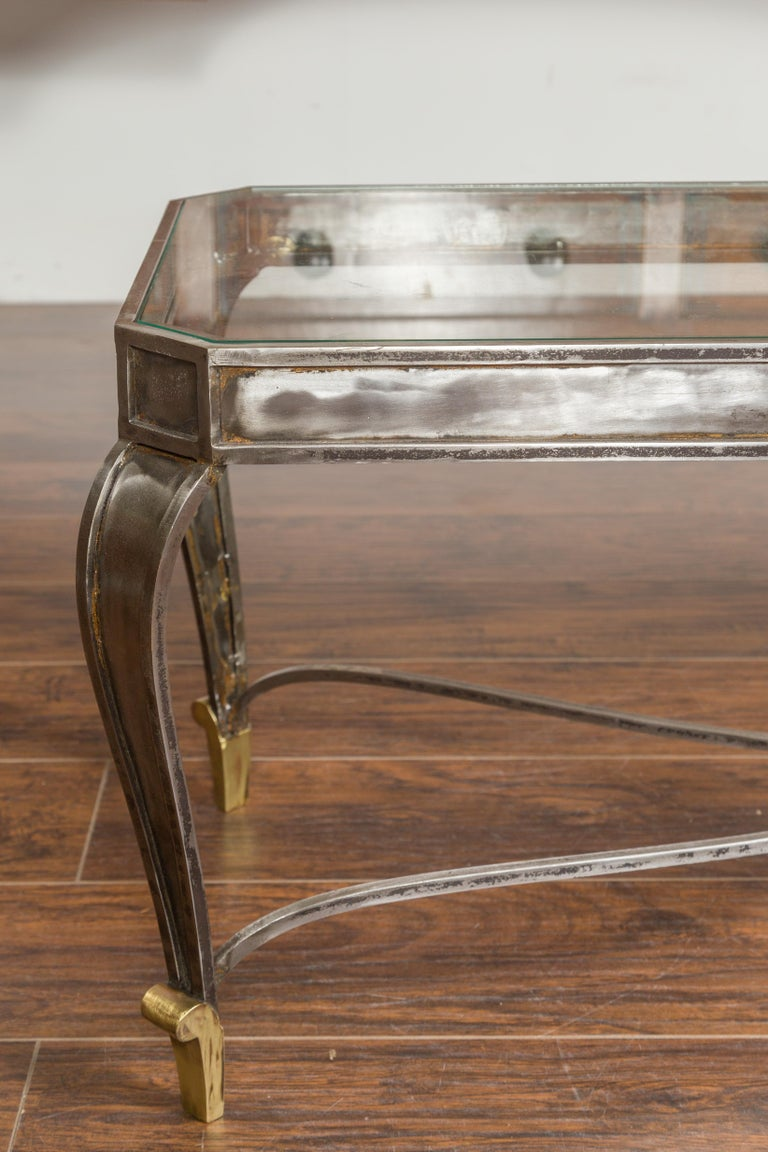 Italian Vintage Steel and Bronze Coffee Table with Glass Top and Feathery Finial In Good Condition For Sale In Atlanta, GA