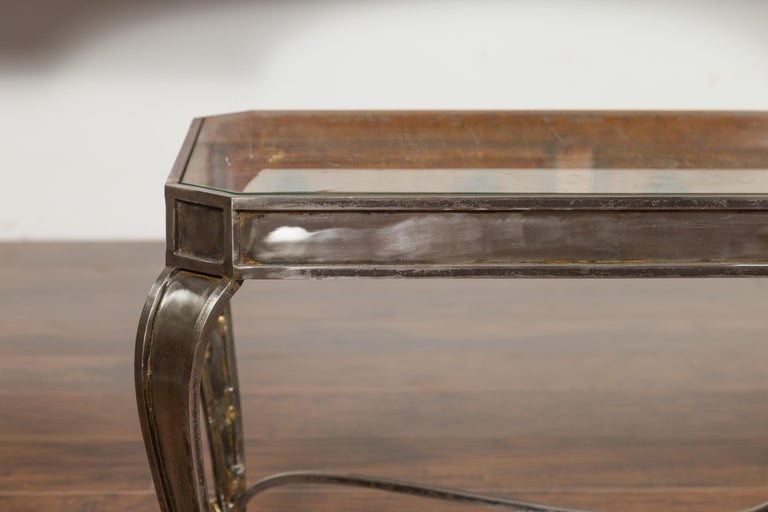 Italian Vintage Steel and Bronze Coffee Table with Glass Top and Feathery Finial For Sale 1