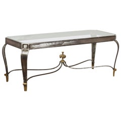 Italian Vintage Steel and Bronze Coffee Table with Glass Top and Feathery Finial