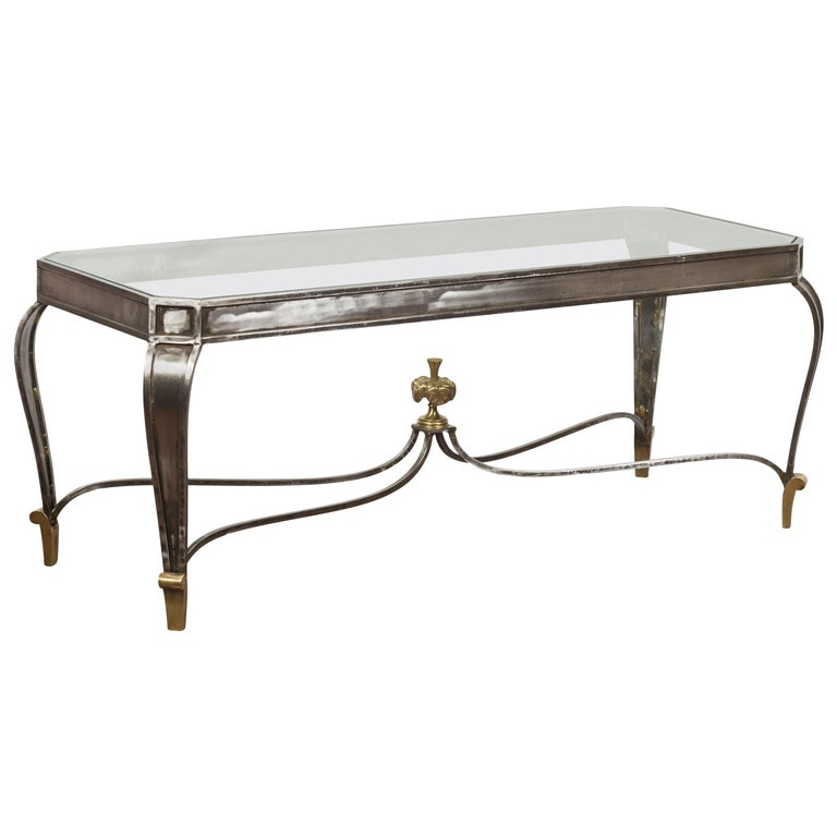 Italian Vintage Steel and Bronze Coffee Table with Glass Top and Feathery Finial For Sale