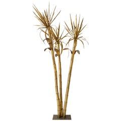 Italian Vintage Tall Brass Palm Attributed to Tommaso Barbi, circa 1970