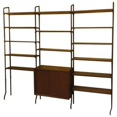 Italian Vintage Teak and Black Steel Bookcase, 1960s