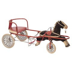 Italian Vintage Toy for Girl Carriage with Horse