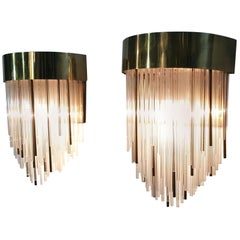 Italian Vintage Wall Sconces in Brass and Glass, 1970's