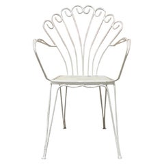 Italian Vintage White Curved Metal Rod Chair, 1960s