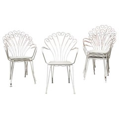 Italian Vintage White Curved Metal Rod Chairs, 1960s