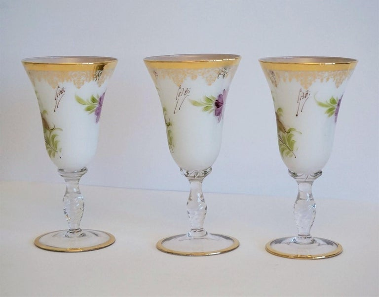 Italian Vintage White Opaline Crystal Glass Hand Painted Carafe and Glasses Set For Sale 4