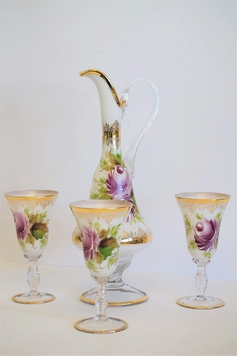 Art Deco Italian Vintage White Opaline Crystal Glass Hand Painted Carafe and Glasses Set For Sale