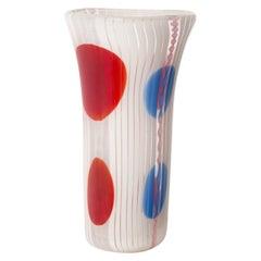 Italian Vintage White Red Blue Glass Vase for Avem Murano, circa 1955