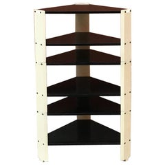 Italian Vintage, Wood Modular Corner Shelves, 1970s