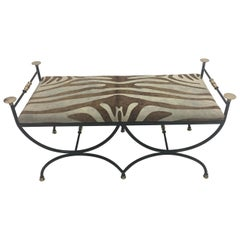 Italian Vintage Wrought Iron Brass and Cowhide Bench