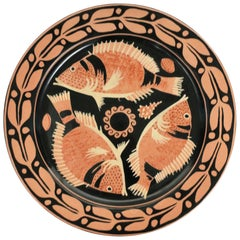 Italian Wall Art Plate with Fish, Coral, and Seashell Design, circa 1990s