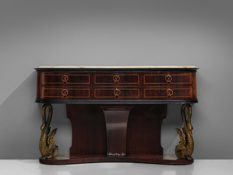 Italian Wall Console in Oak and Marble In Good Condition For Sale In Waalwijk, NL