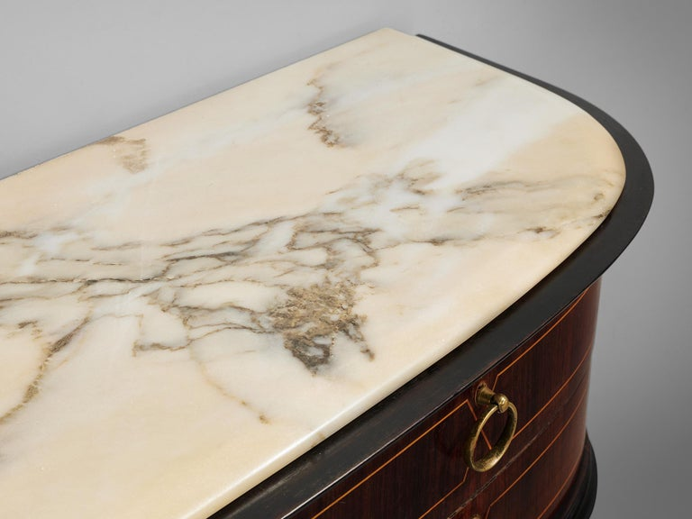 Italian Wall Console in Oak and Marble For Sale 3